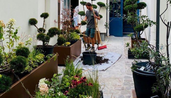 Réalisation d'un jardin urbain privé